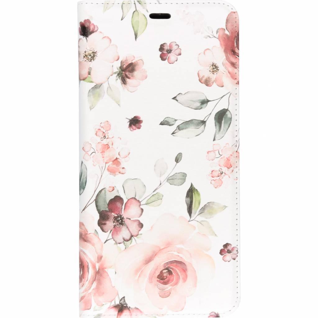 Roze Bloem Design TPU Bookcase voor de Samsung Galaxy A9 (2018)