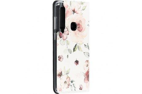 Design Softcase Booktype voor Samsung Galaxy A9 (2018) - Roze Bloemen