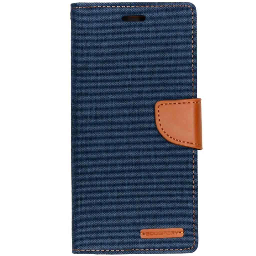 Mercury Goospery Blauwe Canvas Diary Case voor de Samsung Galaxy J6 Plus