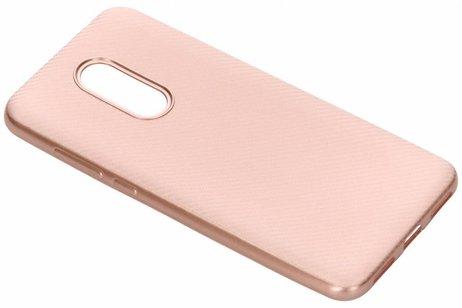 Carbon Softcase Backcover voor Xiaomi Redmi 5 Plus - Rosé goud