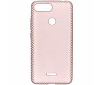 Rosé Goud carbon siliconen hoesje Xiaomi Redmi 6