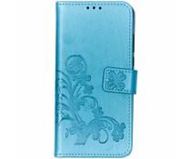 Turquoise klavertje bloemen booktype hoes Huawei P30 Lite