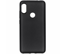 Zwart carbon siliconen hoesje Xiaomi Redmi Note 6 Pro