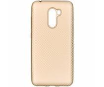 Goud carbon siliconen hoesje Xiaomi Pocophone F1