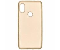 Goud carbon siliconen hoesje Xiaomi Redmi Note 6 Pro