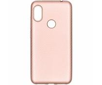 Rosé Goud carbon siliconen hoesje Xiaomi Redmi Note 6 Pro