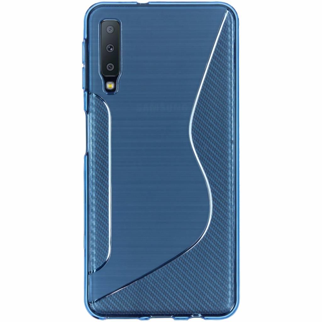 Blauw S-line TPU hoesje voor de Samsung Galaxy A7 (2018)