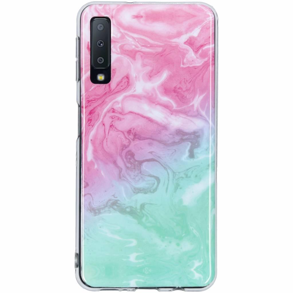 Roze groen design siliconen hoesje voor de Samsung Galaxy A7 (2018)