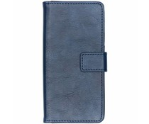 Donkerblauw luxe leder booktype hoes Nokia 5.1 Plus