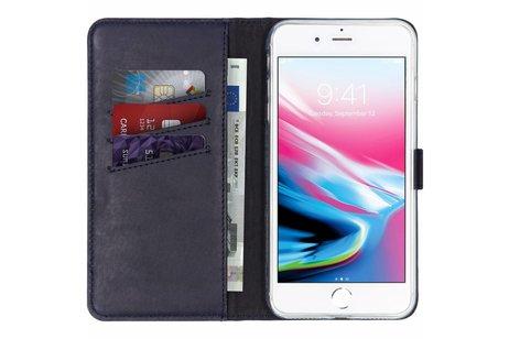 Selencia Echt Lederen Booktype voor iPhone 8 Plus / 7 Plus - Blauw