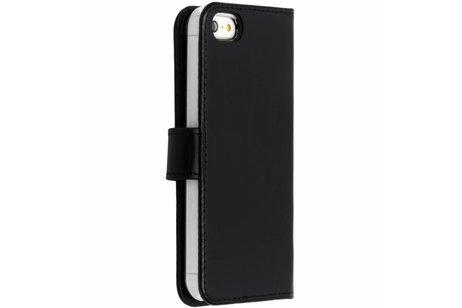 Selencia Echt Lederen Booktype voor iPhone SE / 5 / 5s - Zwart
