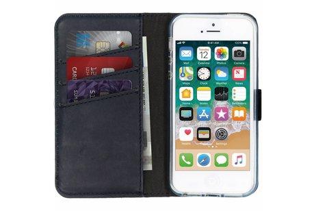 Selencia Echt Lederen Booktype voor iPhone SE / 5 / 5s - Blauw