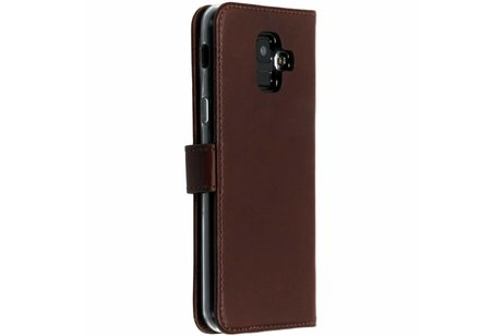 Selencia Echt Lederen Booktype voor Samsung Galaxy A6 (2018) - Bruin