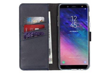 Selencia Echt Lederen Booktype voor Samsung Galaxy A6 (2018) - Blauw
