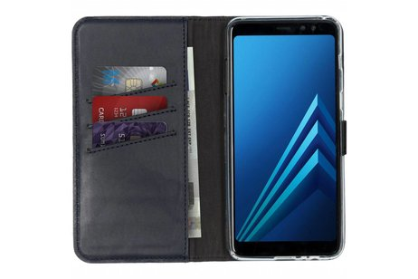 Selencia Echt Lederen Booktype voor Samsung Galaxy A8 (2018) - Blauw