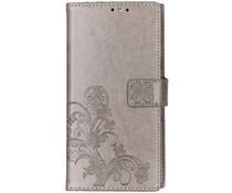 Klavertje Bloemen Booktype Sony Xperia 10 Plus - Grijs