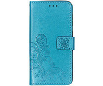 Klavertje Bloemen Booktype Samsung Galaxy A50 - Turquoise