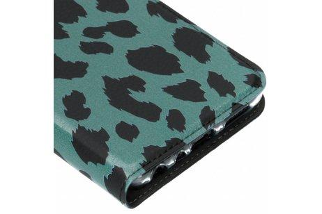 Design Softcase Booktype voor Huawei P Smart - Panter Groen
