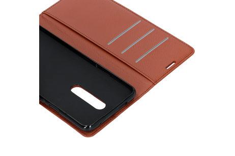 Basic Litchi Booktype voor de OnePlus 7 Pro - Bruin