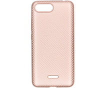 Carbon Softcase Backcover Xiaomi Redmi 6A - Rosé goud
