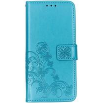 Klavertje Bloemen Booktype Nokia 3.2 - Turquoise