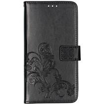 Klavertje Bloemen Booktype Samsung Galaxy A80 - Zwart