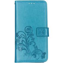 Klavertje Bloemen Booktype Samsung Galaxy A80 - Turquoise