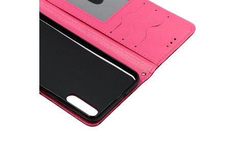 Gekleurde Panter Softcase Booktype voor de Samsung Galaxy A50 / A30s - Fuchsia