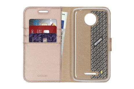 Accezz Wallet Softcase Booktype voor Motorola Moto C Plus - Goud