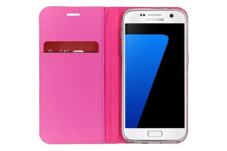 Accezz Wallet Softcase Booktype voor de Samsung Galaxy S7 - Fuchsia