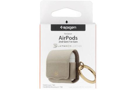 Spigen La Manon Leather Case voor AirPods - Lichtgrijs