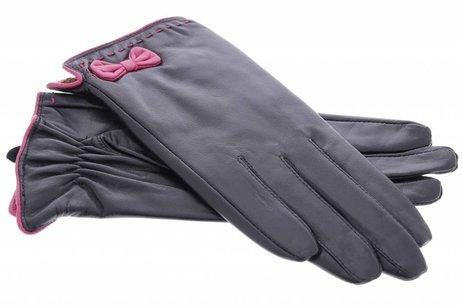 iMoshion Zwarte echt lederen touchscreen handschoenen met roze strik - Maat M