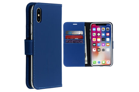 Accezz Wallet Softcase Booktype voor iPhone X / Xs - Donkerblauw