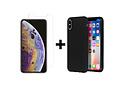 Selencia Gehard Glas Screenprotector + Color Backcover voor de iPhone Xs Max - Zwart