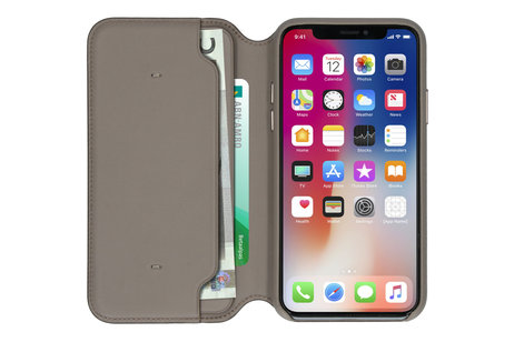 Apple Leather Folio Booktype voor iPhone X / Xs - Taupe