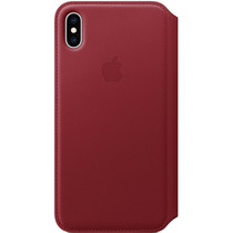 Apple Leather Folio Booktype iPhone Xs Max - Rood