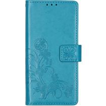 Klavertje Bloemen Booktype Motorola Moto E6 - Turquoise