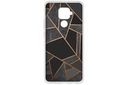 Design Backcover voor de Huawei Mate 30 Lite - Grafisch Zwart / Koper