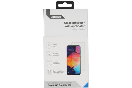Accezz Glass Screenprotector + Applicator voor de Samsung Galaxy A50