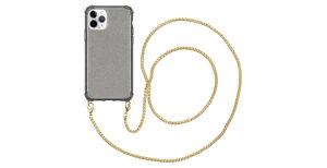 iMoshion Glitter Backcover met ketting iPhone 11 Pro - Zwart