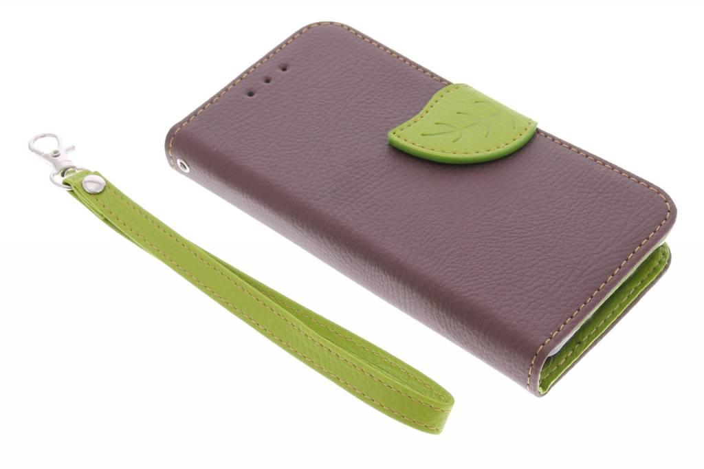 Blad Design Booktype voor Samsung Galaxy Core 2 - Bruin