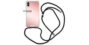 iMoshion Mirror Backcover met koord iPhone Xs / X - Rosé Goud