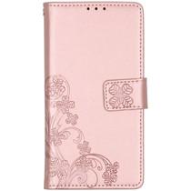 Klavertje Bloemen Booktype Samsung Galaxy A01 - Rosé Goud