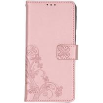 Klavertje Bloemen Booktype Samsung Galaxy A21 - Rosé Goud
