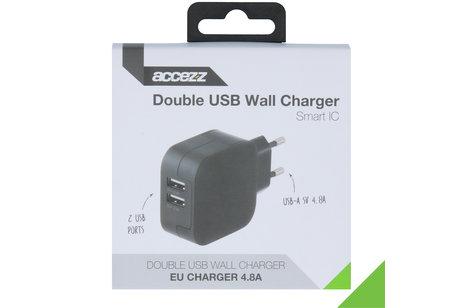 Accezz Double USB Thuislader 4.8A - Zwart