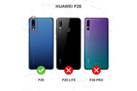 Huawei P20 hoesje - Lederen Backcover met stiksel