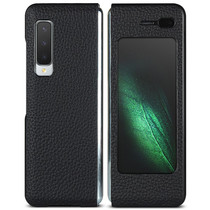 Litchi Real Leather Booktype Samsung Galaxy Fold - Zwart