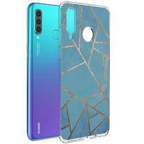 iMoshion Design hoesje Huawei P30 Lite - Grafisch Koper - Blauw