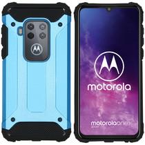 iMoshion Rugged Xtreme Backcover Motorola One Zoom - Lichtblauw