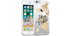 iMoshion Design hoesje iPhone 6 / 6s - Let's Go Travel - Zwart / Goud